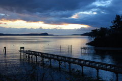 Twilight at Olga Dock on Orcas Island Washington royalty free stock photo