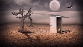 Twilight. Open doorway show a somehow semitransparent space scene in strange landscape Stock Photo