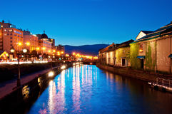 Twilight at Otaru canals Royalty Free Stock Photo