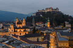 Twilight over the center of Salzburg Royalty Free Stock Photography