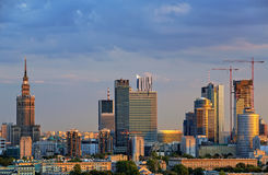 Twilight over the center of Warsaw Stock Photos