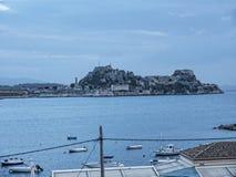 Twilight   over Corfu town on the Island of Corfu Stock Photo
