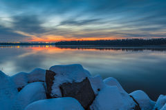 Twilight over the Dnipro river. Dniprocity. Ukraine royalty free stock images