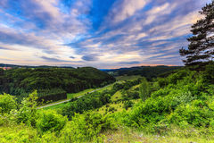 Twilight over German hills Royalty Free Stock Photos