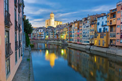 Twilight over Girona. Catalunya, Spain Royalty Free Stock Image