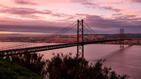 Twilight over Lisbon, Portugal stock video