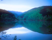 Twilight over a mountain lake. Stock Photo
