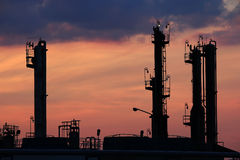 Twilight over petrochemical plant Royalty Free Stock Photos