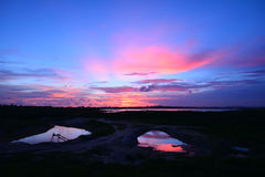 Twilight over reservoir Stock Images