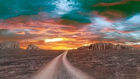 Twilight over rocky desert Royalty Free Stock Images