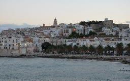 Twilight over the Vieste town. Gargano, Italy Royalty Free Stock Photo