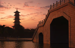 Twilight of the pagoda Stock Images