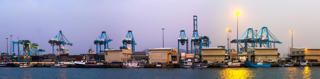 Twilight panorama of  Port of Algeciras Royalty Free Stock Image