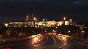 Twilight panorama of Prague castle stock video footage