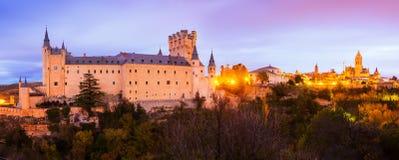 Twilight  panorama of  Segovia Royalty Free Stock Photos
