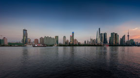 Twilight panoramic view of Shanghai skyline and the Huangpu river Royalty Free Stock Images