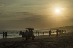 Twilight on the parangkusumo beach Royalty Free Stock Photo