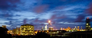 Twilight in petrochemical plant Stock Image
