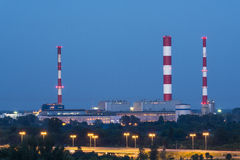 Twilight photo of ecological power plant Stock Photos