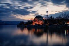 Twilight photo of Golyazi, Mosque, Bursa. Long exposure photo of turistic place of bursa and nice reflection of part of village Royalty Free Stock Image