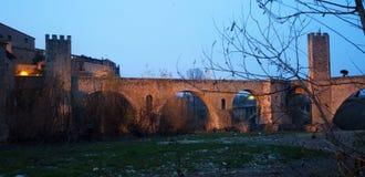 Twilight photo of Medieval bridge. Besalu Royalty Free Stock Images