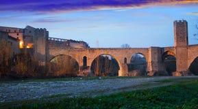 Twilight photo of Medieval bridge. Besalu Royalty Free Stock Photos