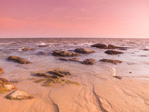 Twilight pink tone on the beach Royalty Free Stock Photo