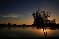 Twilight in the pond of Patos de Minas royalty free stock image