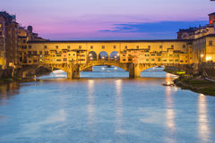 Twilight of Ponte Vecchio the ancient bridge of Florence, Italy. Royalty Free Stock Photography