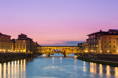 Twilight of Ponte Vecchio the ancient bridge of Florence, Italy. Royalty Free Stock Images