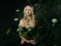 Twilight portrait of beautiful lady stock photo