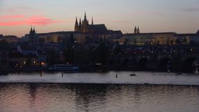 Twilight in Prague. View of Saint Vitus Cathedral. Twilight in Prague. View of St. Vitus Cathedral stock footage