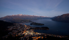 Twilight in Queens town New Zealand Stock Photo
