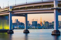 The twilight of Rainbow Bridge in Tokyo, Japan Royalty Free Stock Photos