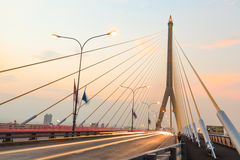 Twilight  at Rama VIII Bridge Bangkok Royalty Free Stock Photo