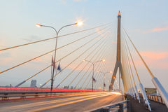 Twilight  at Rama VIII Bridge Bangkok Royalty Free Stock Photos
