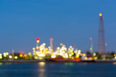 Twilight of refinery bokeh background. Royalty Free Stock Photography