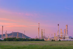 Twilight of refinery plant. Royalty Free Stock Images