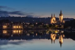 Twilight, with reflections over the river, Truro Cathedral, Corn stock image