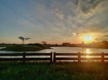 Twilight in the Resevoir. Landscape Phone  Photography Stock Photo
