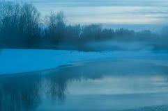 Twilight river ice fog Royalty Free Stock Photo