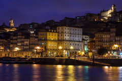 Twilight on the riverfront of Douro River in Porto, Portugal Stock Photos
