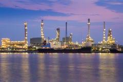 Twilight riverfront over Oil refinery, Bangkok Thailand Stock Image