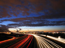 Twilight road. A busy city highway at twilight royalty free stock photo