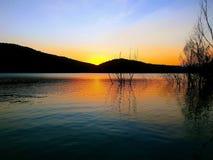 Twilight. Saint Ponç lake. Catalonia. The last light in the lake Royalty Free Stock Photos