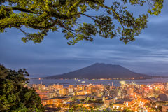 Twilight Sakurajima Volcano and Kagoshima City View from Shiroya Royalty Free Stock Photos