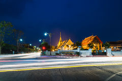 Twilight scene of Ancient pagoda and church, Nan, Thailand. Royalty Free Stock Images