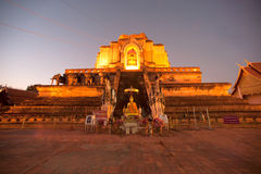 Twilight scene of Ancient Pagoda in Wat Chedi Luang,Thailand. Stock Photos