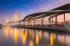 Twilight Scene Bhumibol Bridge, Bangkok, Thailand Stock Photography