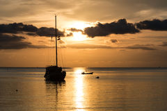 Twilight scene of boat with cloudy sky. At Koh Phangan, Suratthani, Thailand Stock Image